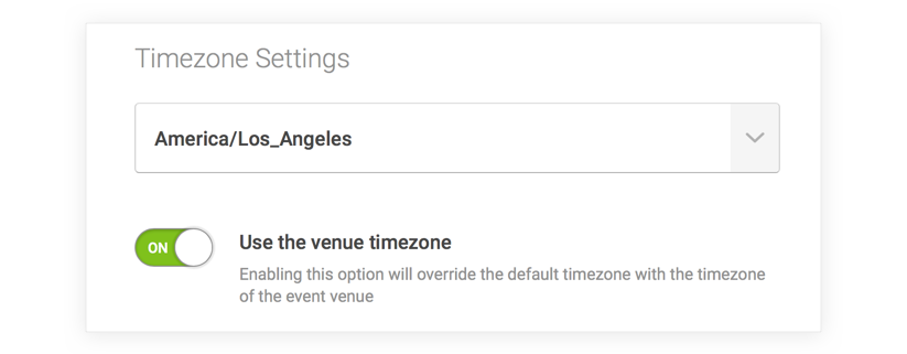 The timezone settings on the Calendar Settings screen. The first option is a dropdown menu to select the default timezone. The second option is a toggle that can enable or disable using the location of the venue attached to an event to set the event timezone.